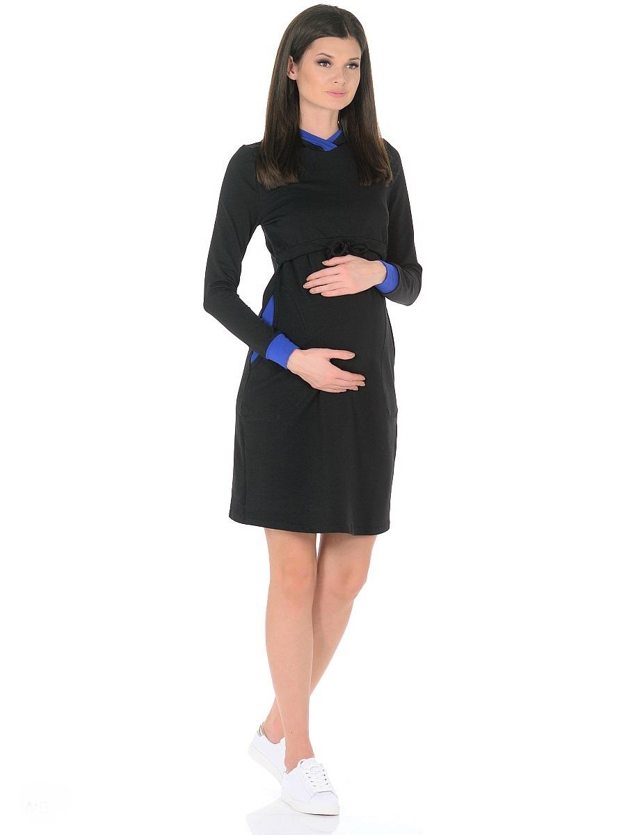 Платье для беременных 40 недель, цвет: черный, синий. 300326. Размер 48300326Модное повседневное платье для беременных и кормящих женщин от бренда 40 недель изготовлено из хлопкового трикотажа-футер. Модель прямого силуэта с капюшоном, с длинными рукавами на манжетах, дополнено вместительными карманами. Платье имеет горизонтальный секрет кормления, достаточно приподнять верхний слой кокетки и с комфортом покормить малыша. Кулиска на завязках в основании кокетки, капюшон с контрастной отделкой, эластичные манжеты на рукавах и вставки в карманах придают платью спортивный оттенок, делают его очень удобным, практичным и незаменимым в период беременности и во время грудного вскармливания.