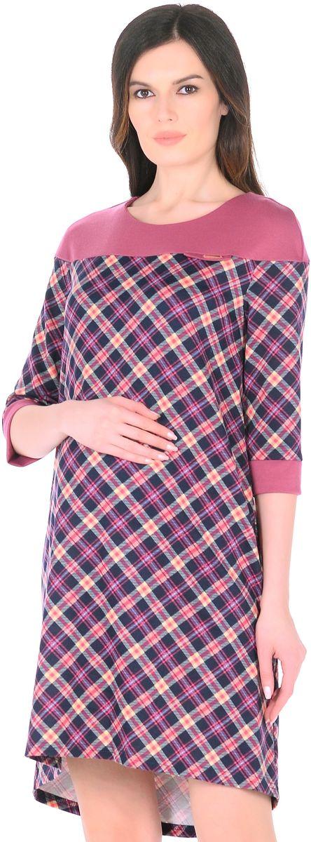 Платье для беременных 40 недель, цвет: розовый, синий. 300328. Размер 42300328Стильное платье для беременных женщин от бренда 40 недель изготовлено из трикотажного полотна. Ткань приятная к телу, мягкая и не мнется. Модель свободного трапециевидного покроя, с высокой отрезной кокеткой, с рукавами 1/2, вырез горловины округлый, спинка слегка удлиненная. Стильная комбинированная расцветка привлекает внимание, декоративный элемент на груди придает изюминку. Платье хорошо садится по фигуре, продуманный крой предусматривает пространство для растущего животика. Отражая последние модные тенденции, такое платье подчеркнет хороший вкус, сделает образ беременной женщины модным, современным и привлекательным.