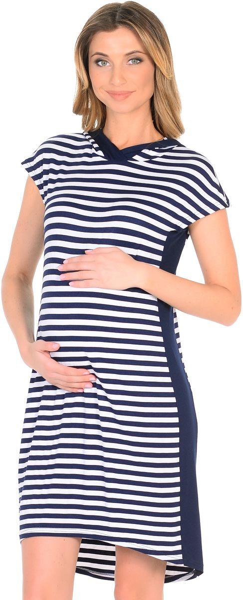 Платье300330/1Стильное платье для беременных из вискозного полотна в полоску. Модель прямого силуэта с капюшоном и с короткими рукавами, линия низа по спинке немного удлинённая. Платье легкое и комфортное за счет положительных характеристик ткани и кроя. Вертикальная полоска и вставки по бокам визуально вытягивают силуэт, корректируют временные несовершенства, делая фигуру стройнее. Платье подходит в период беременности и после рождения малыша.