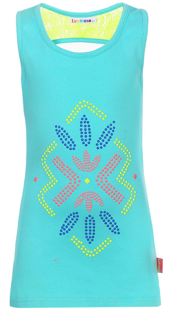 Майка718009Трикотажная майка-топ для девочки с оригинальной аппликацией. Спинка декорирована кружевной вставкой.
