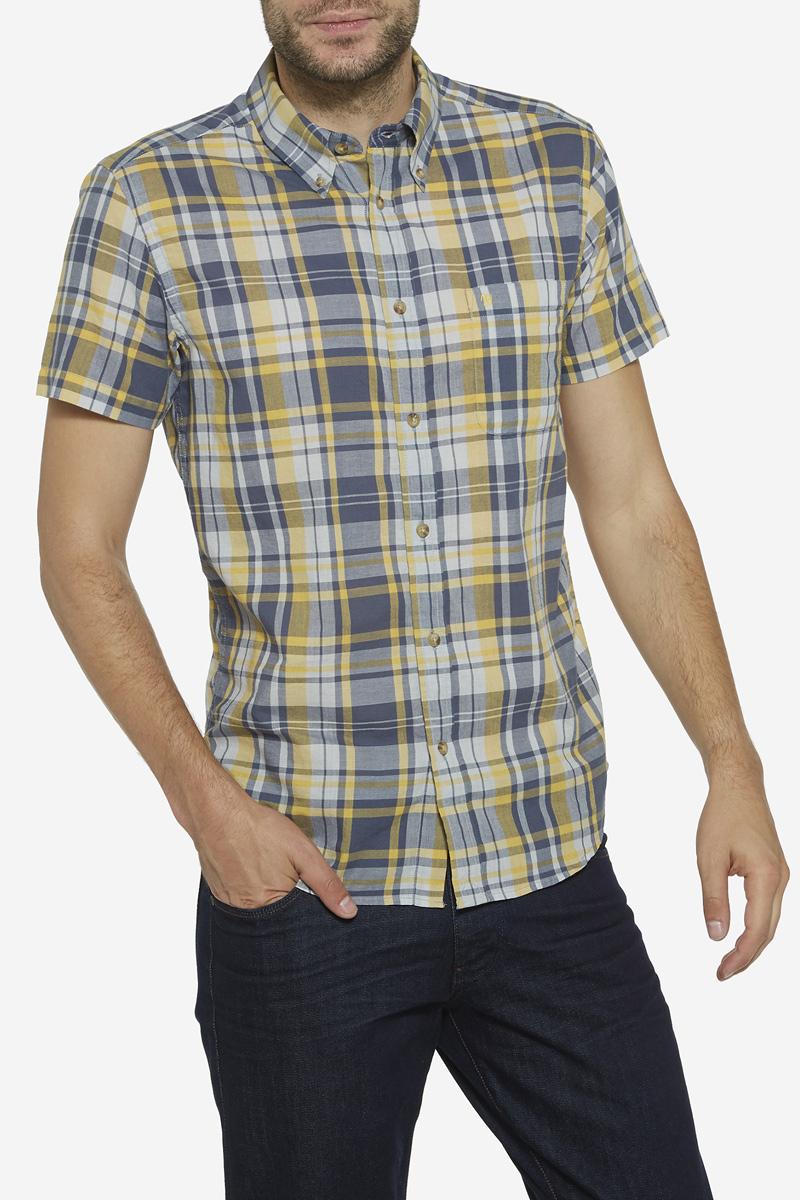 Рубашка мужская Wrangler, цвет: горчичный, серый. W5960MG04. Размер M (48)W5960MG04Мужская рубашка Wrangler изготовлена из натурального хлопка. Модель с короткими рукавами имеет на груди накладной открытый карман. Рубашка застегивается спереди на пуговицы. Оформлена модель стильным принтом в клетку.