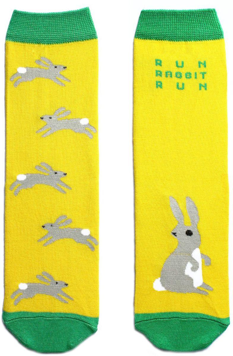 Носки детские Big Bang Socks, цвет: желтый. n211. Размер 30/34n211Яркие носки Big Bang Socks изготовлены из высококачественного хлопка с добавлением полиамидных и эластановых волокон, которые обеспечивают великолепную посадку. Носки отличаются ярким стильным дизайном. Они оформлены изображением зайцев и надписью run, rabbit, run (беги, заяц, беги).