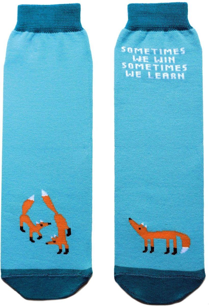 Носкиca1111Яркие носки с несимметричным принтом лисица и надписью sometimes we win sometimes we learn (иногда мы побеждаем, иногда - учимся)