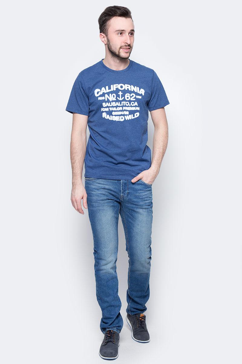 Футболка мужская Tom Tailor, цвет: темно-синий. 1037703.00.10_6621. Размер M (48)1037703.00.10_6621Мужская футболка Tom Tailor выполнена из натурального хлопка. Модель с круглым вырезом горловины и короткими рукавами оформлена оригинальным принтом.Такая футболка станет стильным дополнением к вашему гардеробу, она подарит вам комфорт в течение всего дня!