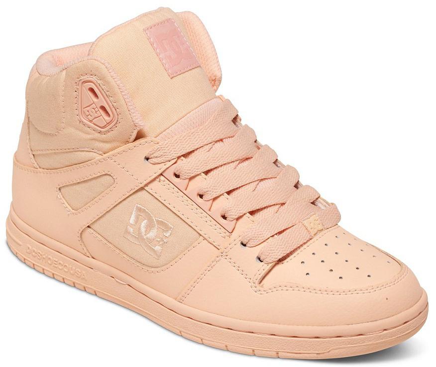 Кеды женские DC Shoes Rebound High, цвет: персиковый. 302164-PCR. Размер 8,5B (40)302164-PCRКлассические высокие женские кеды, обеспечивающие максимальный комфорт и поддержку благодаря вспененному манжету и язычку. Выигрышное сочетание кожи и премиум текстиля обеспечит не только долговечность и надежность конструкции, но и отличный внешний вид, добавляющий стиля городскому луку.