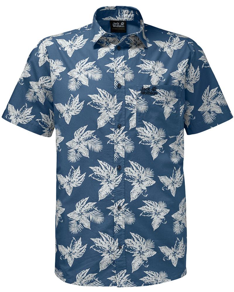 Рубашка мужская Jack Wolfskin Hot Chili Tropical Shirt, цвет: синий. 1402321-7863. Размер XXXL (56)1402321-7863Стильная мужская рубашка Jack Wolfskin выполнена из хлопка. Модель с отложным воротником и короткими рукавами застегивается на пуговицы по всей длине. Спереди рубашка дополнена накладным карманом. Оформлена модель модным принтом.