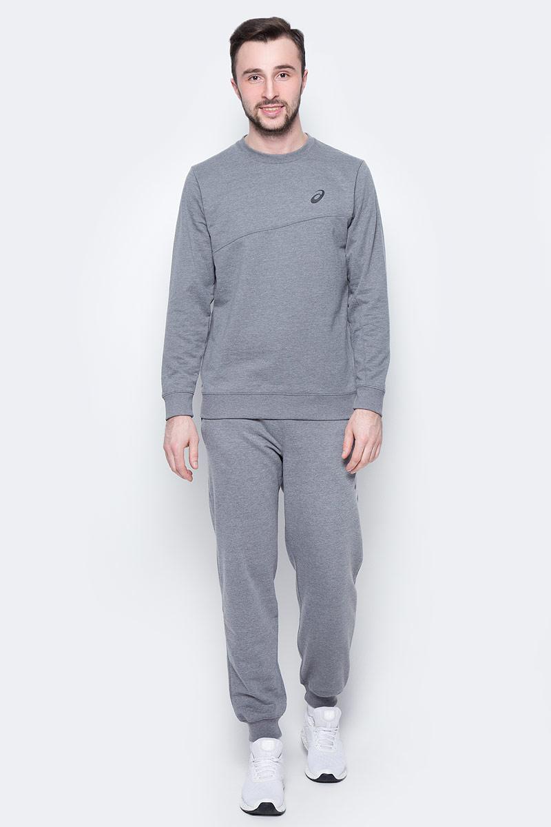 Костюм спортивный мужской Asics Sweater Suit, цвет: серый. 142895-0798. Размер L (50/52)142895-0798Удобный спортивный костюм для повседневных тренировок. Лонгслив с круглым вырезом горловины и длинными рукавами. Брюки дополнены эластичным поясом на талии и внутренним шнурком.