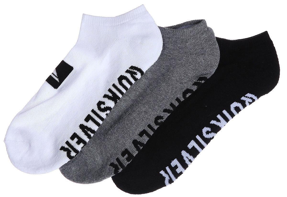 Носки мужские Quiksilver Ankle Pack, цвет: черный, белый, серый, 3 пары. EQYAA03483-AST. Размер 8/11 (41/44)EQYAA03483-ASTМужские носки Quiksilver изготовлены из хлопка с добавлением полиэстера и эластана. Укороченная модель имеет мягкую эластичную резинку. Носки хорошо держат форму и обладают повышенной воздухопроницаемостью.