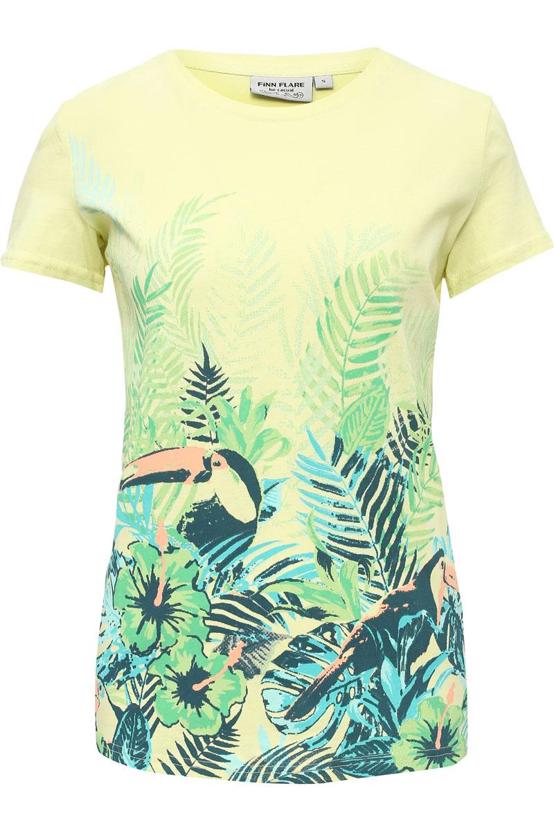 Футболка женская Finn Flare, цвет: ярко-зеленый. S17-14065_518. Размер M (46)S17-14065_518Стильная футболка белого цвета и прямого кроя станет отличным элементом в вашем ежедневном гардеробе. Модель украшена ярким принтом с пеликаном и растениями, что отлично подходит к жаркому летнему сезону. Такую футболку можно комбинировать с любой одеждой в стиле casual. Модель выполнена из качественного хлопка.