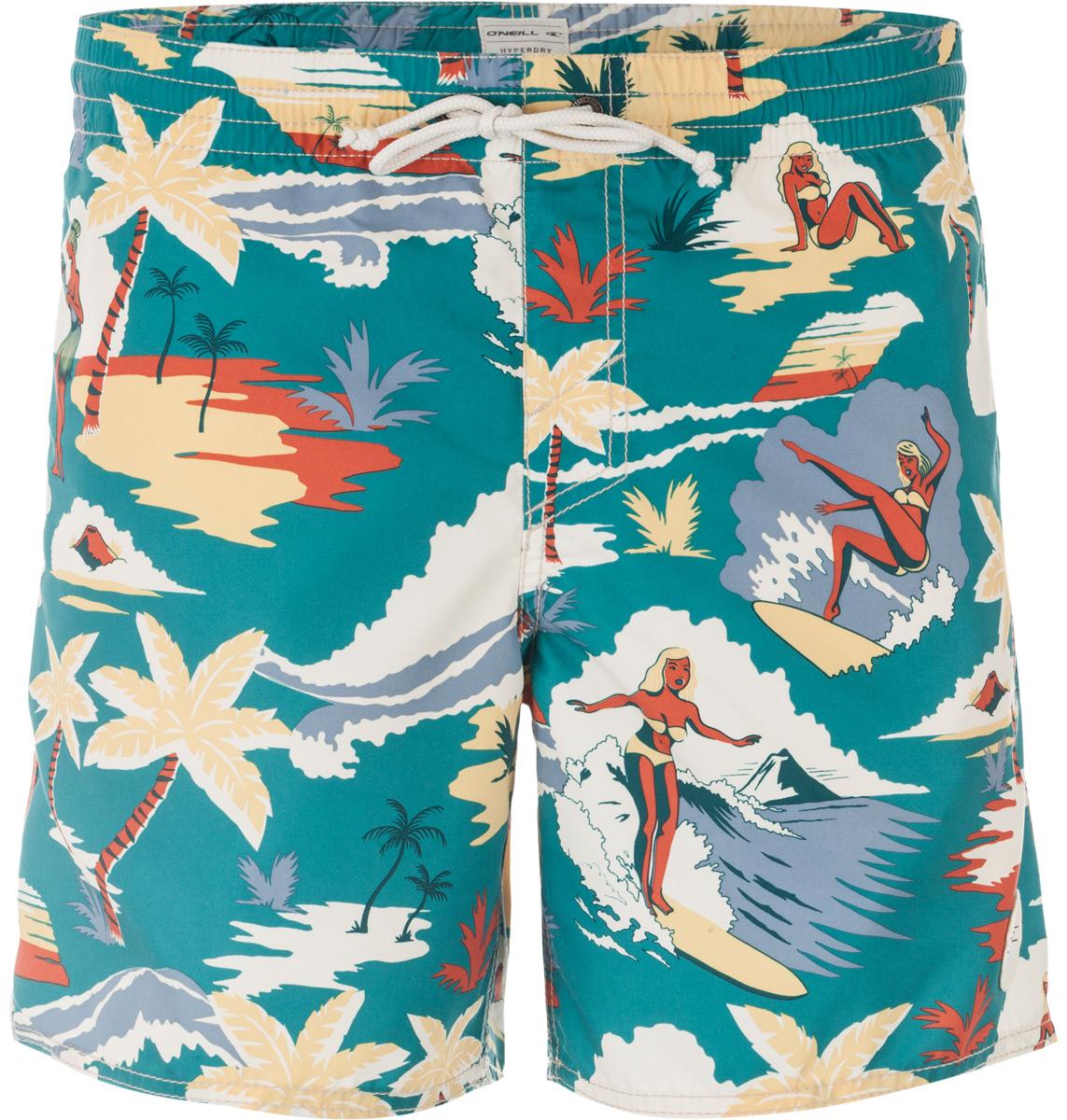Шорты пляжные мужские ONeill Pm Socal Boardshorts, цвет: зеленый. 7A3682-6900. Размер L (50/52)7A3682-6900Мужские пляжные шорты ONeill выполнены из 100% полиэстера. Технология Hyperdry надежно защищает от влаги, пропускает воздух и позволяет ткани быстро сохнуть. Пояс снабжен эластичной резинкой с затягивающимся шнурком для комфортной посадки. Изделие декорировано ярким летним принтом.