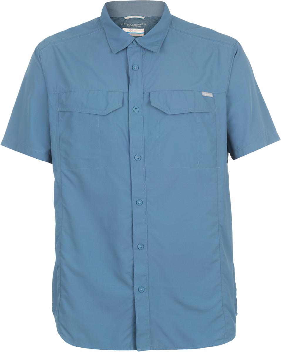 Рубашка мужская Columbia Silver Ridge SS Shirt, цвет: темно-синий. 1441661-492. Размер S (44/46)1441661-492Мужская рубашка Columbia Silver Ridge SS Shirt изготовлена из нейлона. Модель Regular Fit с отложным воротником и короткими рукавами застегивается на пуговицы. Спереди расположен накладной карман. Технология Omni-Shade UPF 50 обеспечивает максимальную защиту от УФ-лучей в течение долгих часов на солнце. Технология Omni-Wick отводит испарения от тела, влага быстро впитывается в ткань и испаряется.