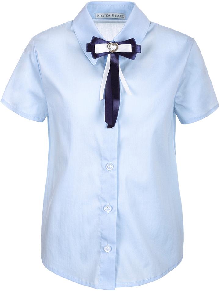 Рубашка для девочки Nota Bene, цвет: голубой. CWR27021A10. Размер 134CWR27021A10Стильная рубашка для девочки от Nota Bene выполнена из хлопка и полиэстера с добавлением лайкры. Модель с отложным воротником и короткими рукавами застегивается на пуговицы по всей длине.