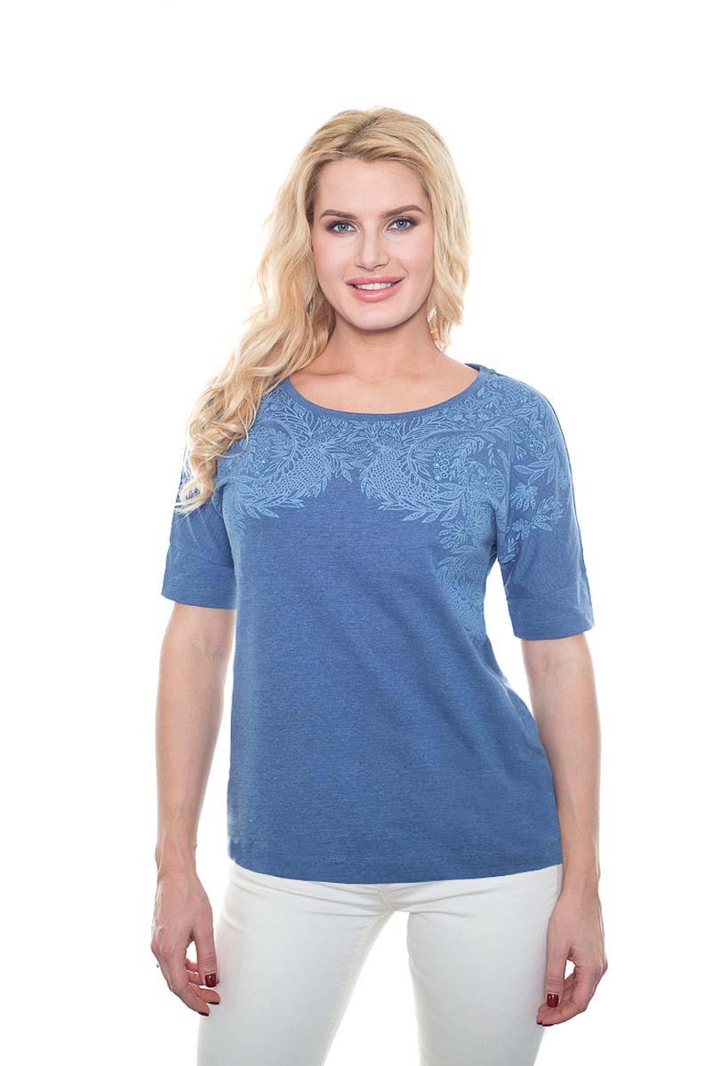 Футболка женская BeGood, цвет: синий. SS17-BGUZ-899. Размер 50SS17-BGUZ-899Женская футболка BeGood изготовлена из качественной смесовой ткани. У модели круглая горловина и оригинальный принт на груди.