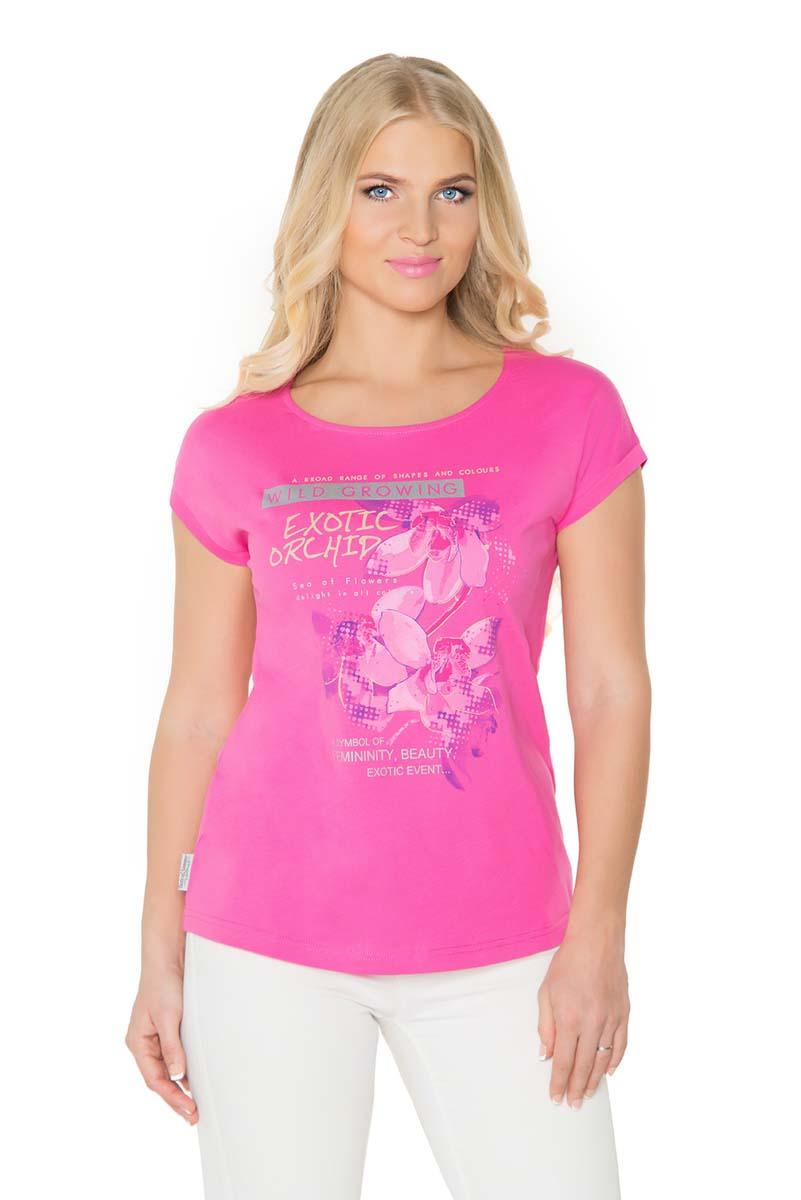 Футболка женская BeGood, цвет: фуксия. SS17-BGUZ-984. Размер 56SS17-BGUZ-984Женская футболка BeGood изготовлена из натурального хлопка. У модели укороченные рукава и женственная горловина. Футболка дополнена оригинальным принтом.