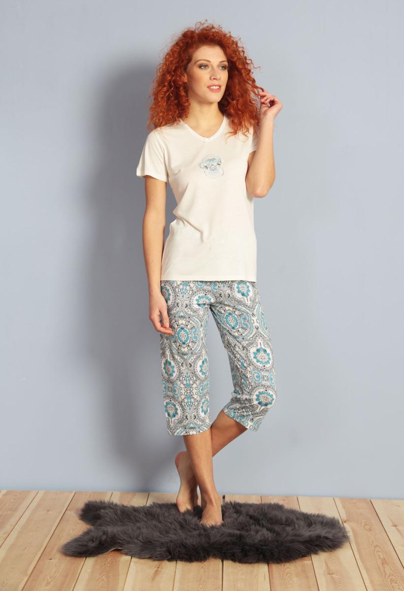 Домашний комплект женский Kezokino, цвет: ванильный. 610024 1174. Размер XL (50)610024 1174Красивый комплект, выполненный из 100% вискозы, состоит из футболки и капри приятной расцветки. Отличный вариант для дома и отдыха на каждый день.