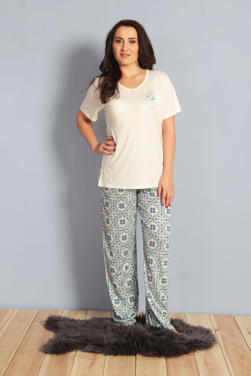Домашний комплект женский Kezokino, цвет: экрю. 610275 0335. Размер XXXL (54)610275 0335Красивый комплект, выполненный из 100% вискозы, состоит из футболки и брюк приятной расцветки. Отличный вариант для дома и отдыха на каждый день.