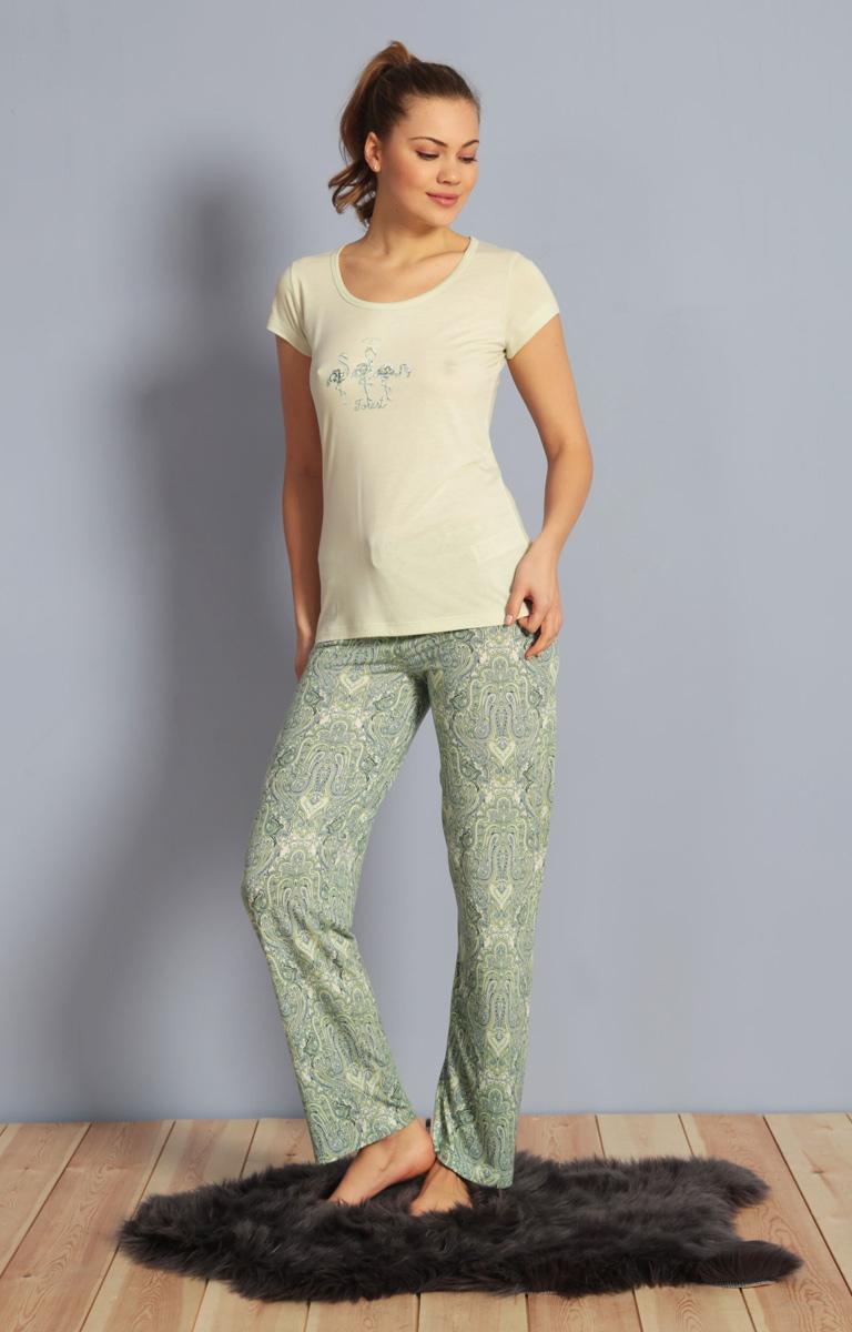 Домашний комплект женский Kezokino, цвет: светло-зеленый. 610161 0619. Размер S (44)610161 0619Красивый комплект, выполненный из 100% вискозы, состоит из футболки и брюк приятной расцветки. Отличный вариант для дома и отдыха на каждый день.