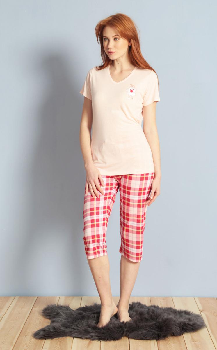 Домашний комплект женский Kezokino, цвет: розовый. 609100 1246. Размер S (44)609100 1246Красивый комплект, выполненный из 100% вискозы, состоит из футболки и капри приятной расцветки. Отличный вариант для дома и отдыха на каждый день.