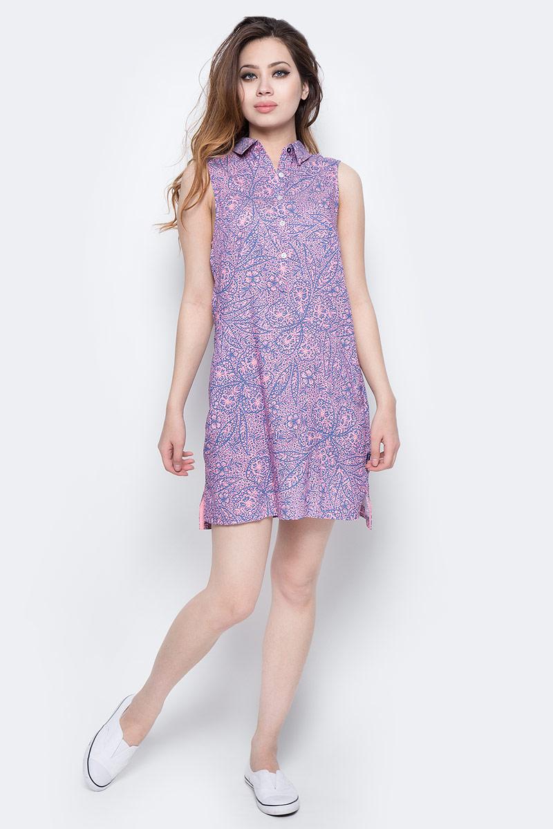 Платье Columbia Harborside Woven Sleeveless Dress, цвет: синий, розовый. 1709571-485. Размер S (44)1709571-485Элегантное платье Columbia Harborside Woven Sleeveless Dress выполнено из полиэстера и хлопка с добавлением эластана. Модель приталенного кроя с отложным воротником застегивается на пластиковые пуговицы. По бокам изделие дополнено небольшими разрезами.