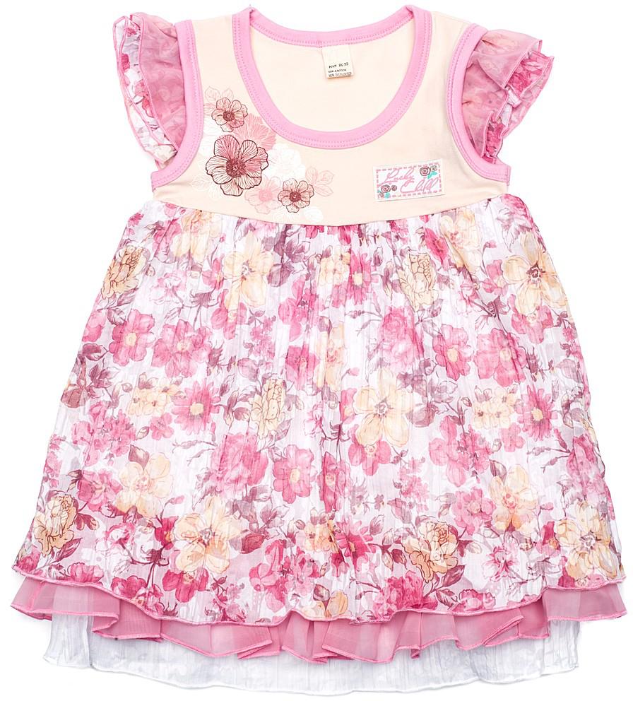 Платье50-65Платье скроено аккуратно, все швы мягкие и практически не заметны. На верхней части изящный цветочный принт. Он идеально гармонирует с жатым батистом нежных пастельных тонов с цветочным рисунком на нижней части платья.