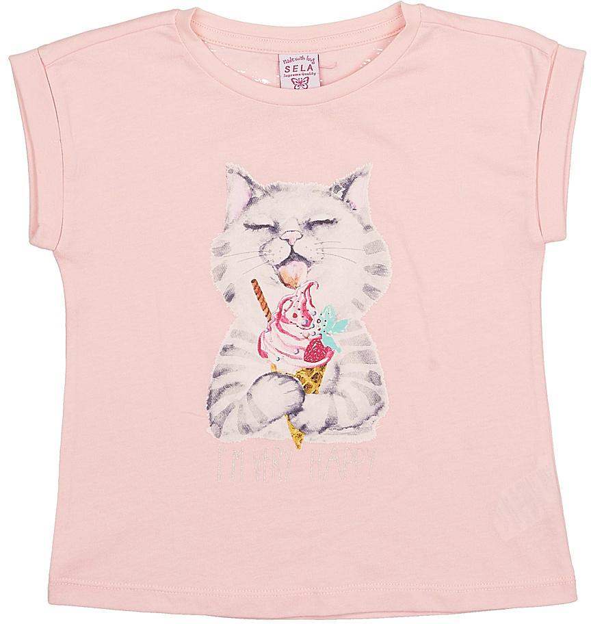Футболка для девочки Sela, цвет: светло-розовый. Tsl-511/412-7215. Размер 116Tsl-511/412-7215Модная футболка для девочки Sela выполнена из натурального хлопка и оформлена оригинальным принтом. Модель прямого кроя с цельнокроеным рукавом подойдет для прогулок и дружеских встреч и будет отлично сочетаться с джинсами и брюками, а также гармонично смотреться с юбками. Воротник изделия дополнен мягкой трикотажной резинкой.Мягкая ткань комфортна и приятна на ощупь. Яркий цвет модели позволяет создавать стильные образы.