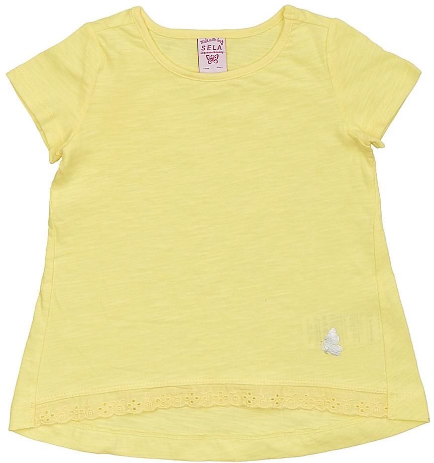 ФутболкаTs-511/312-7142Модная футболка для девочки Sela выполнена из натурального хлопка и оформлена кружевной вставкой по низу. Модель А-силуэта с удлиненной спинкой подойдет для прогулок и дружеских встреч и будет отлично сочетаться с джинсами, брюками и лосинами. Воротник изделия дополнен мягкой эластичной бейкой. Мягкая ткань комфортна и приятна на ощупь. Яркий цвет модели позволяет создавать стильные образы.