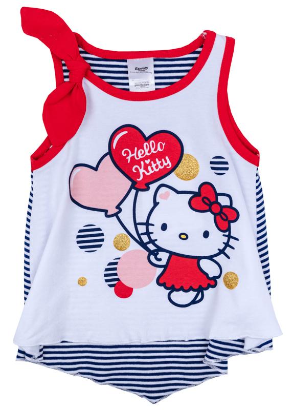Майка для девочки PlayToday, цвет: белый, темно-синий, красный. 978006. Размер 74978006Майка для девочки PlayToday с круглым вырезом горловины оформлена оригинальным принтом.