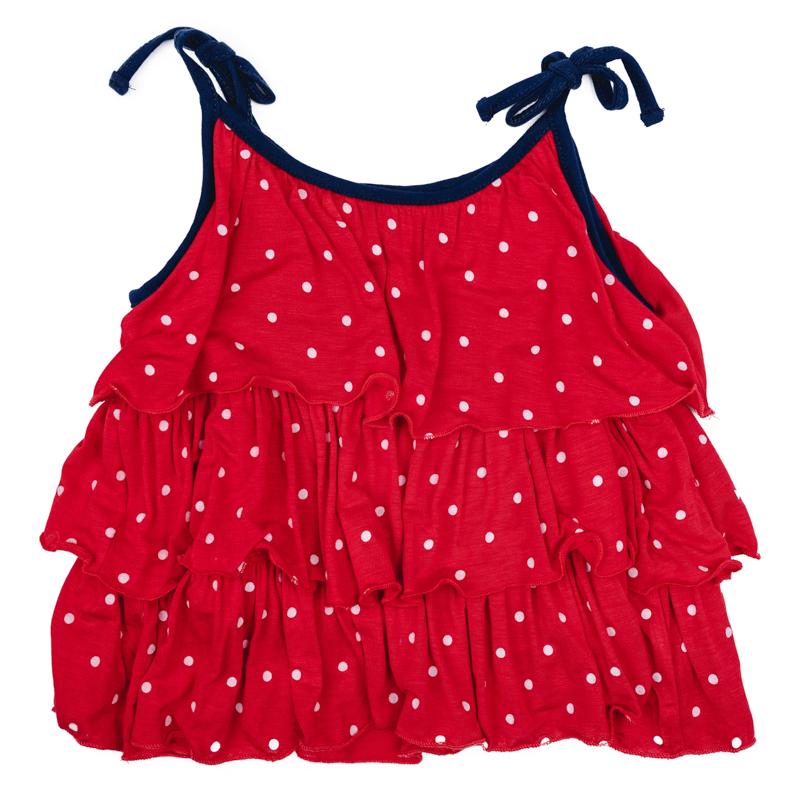 Топ для девочки PlayToday, цвет: красный, белый, синий. 278010. Размер 86278010Яркий топ для девочки PlayToday идеально подойдет вашей малышке и станет отличным дополнением к детскому гардеробу. Он необычайно мягкий и приятный на ощупь, не сковывает движения малышки и позволяет коже дышать, не раздражает нежную кожу ребенка, обеспечивая ему наибольший комфорт. Модель на тонких бретелях оформлена по всей длине оборками.