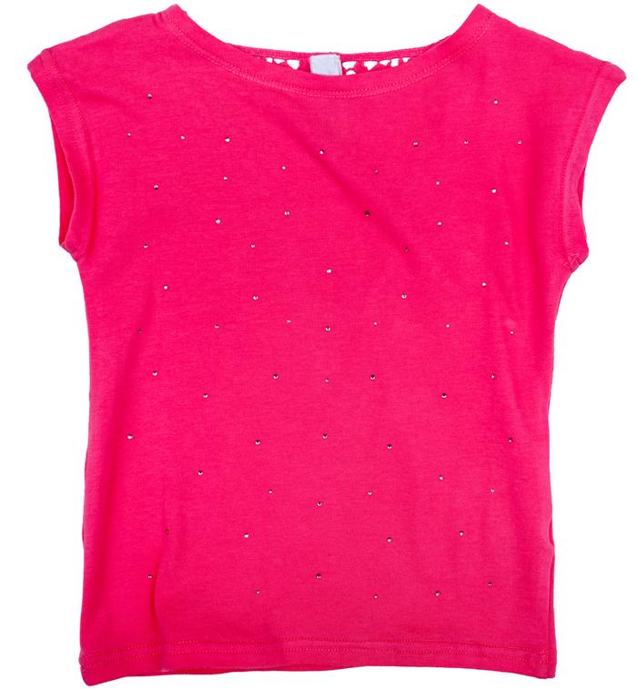 Футболка для девочки PlayToday, цвет: розовый. 278006. Размер 86278006Футболка для девочки PlayToday с круглым вырезом горловины и короткими рукавами оформлена стразами.