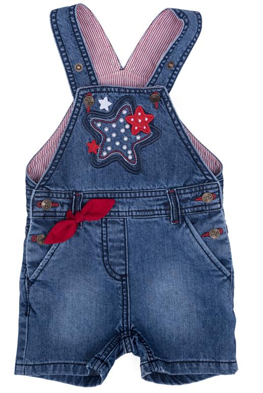 Полукомбинезон джинсовый для девочки PlayToday, цвет: синий, красный, белый, желтый. 278003. Размер 74278003Джинсовый полукомбинезон на регулируемых бретелях оформлен аппликацией.