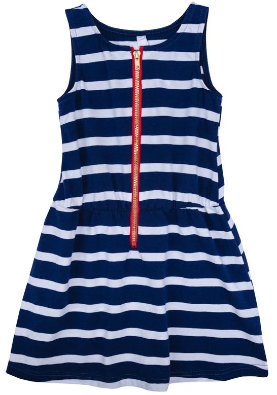 Платье для девочки PlayToday, цвет: синий, белый, красный. 272007. Размер 110272007Платье для девочки PlayToday выполнено из качественного материала. Модель с круглым вырезом горловины оформлено принтом в полоску.