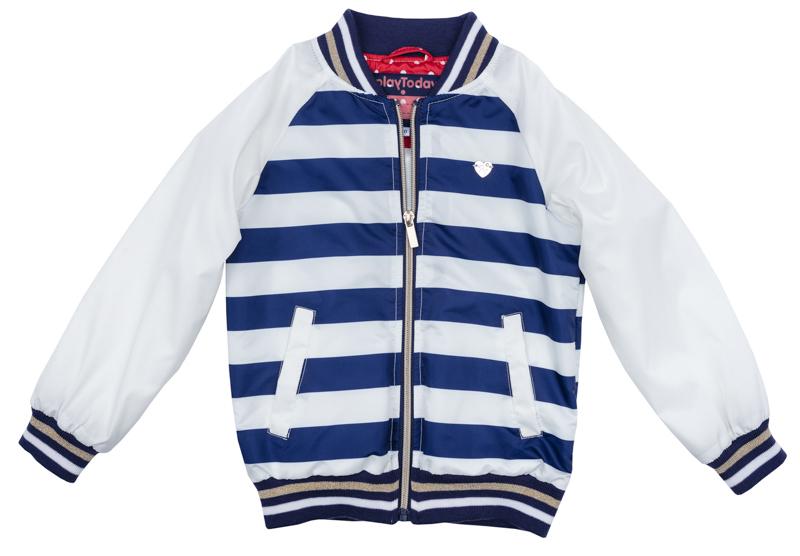 Куртка для девочки PlayToday, цвет: белый, синий, бежевый. 272001. Размер 128272001Куртка для девочки PlayToday выполнена из качественного материала. Модель с длинными рукавами застегивается на молнию.