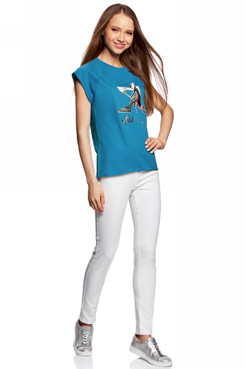 Футболка женская oodji Ultra, цвет: синий. 14707001-30/46154/7519P. Размер M (46)14707001-30/46154/7519PЖенская футболка от oodji выполнена из натурального хлопка. Модель с короткими рукавами спереди оформлена принтом.