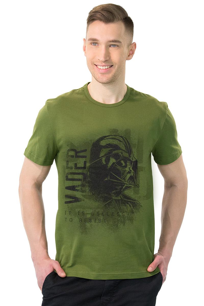 Футболка мужская MF SW Vader, цвет: темно-зеленый. 2-103. Размер M (48)2-103Мужская футболка MF с короткими рукавами и круглым вырезом горловины выполнена из натурального хлопка. Оформлена модель оригинальным принтом и надписью. Такая модель подарит вам комфорт в течение всего дня и послужит замечательным дополнением к вашему гардеробу.