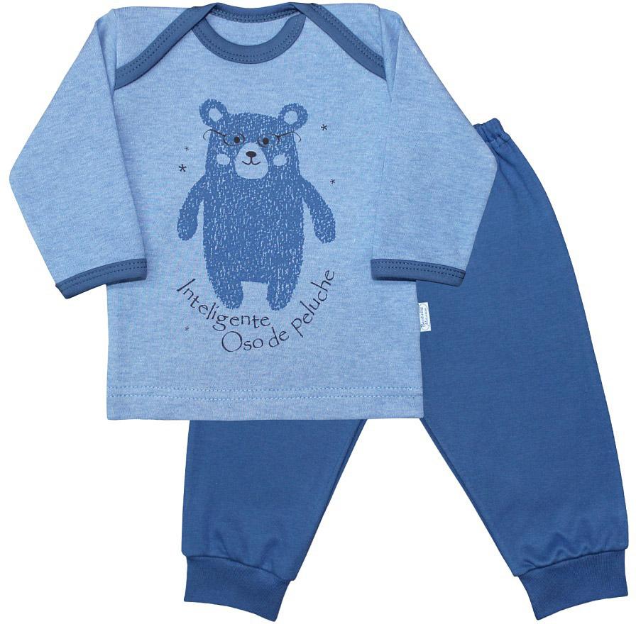 Пижама для мальчика Веселый малыш Умный мишка, цвет: синий. 623332/уми-E (1). Размер 80623332_умный мишкаПижама для мальчика Веселый малыш выполнена из качественного материала и состоит из лонгслива и брюк. Лонгслив с длинными рукавами и круглым вырезом горловины. Брюки понизу дополнены манжета