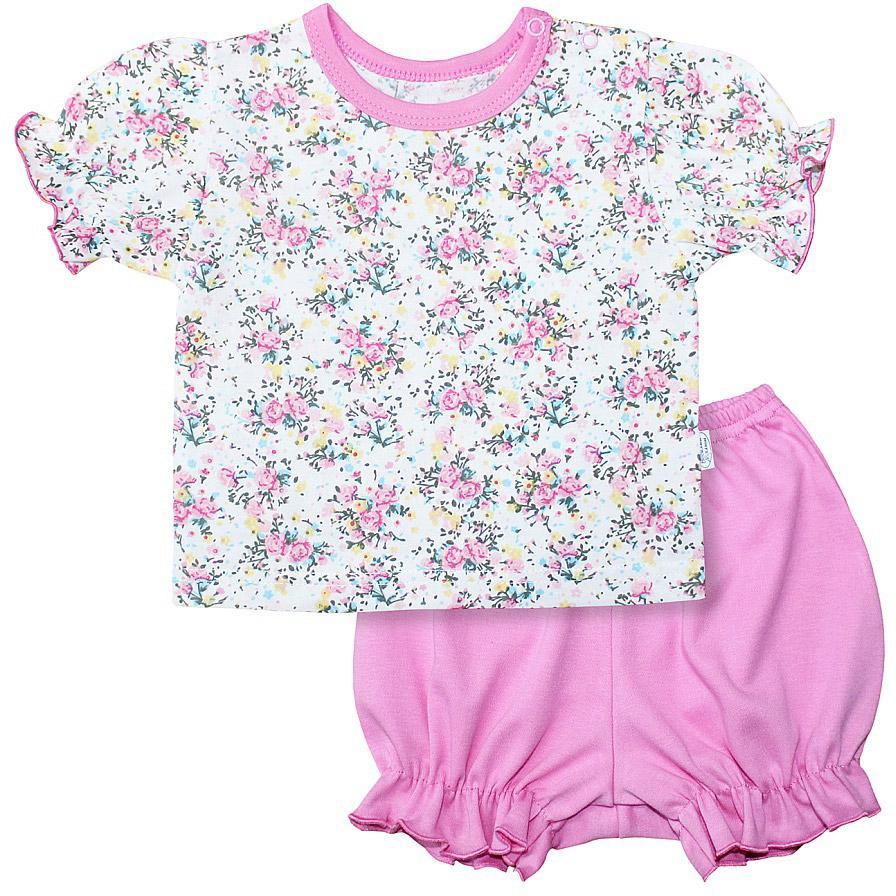 Комплект для девочки Веселый малыш One: футболка, шорты, цвет: розовый. 219172/one-Букет. Размер 80219172_букетКомплект для девочки Веселый малыш One выполнен из качественного материала и состоит из футболки и шорт. Футболка с короткими рукавами и круглым вырезом горловины. Шорты дополнены оборками.