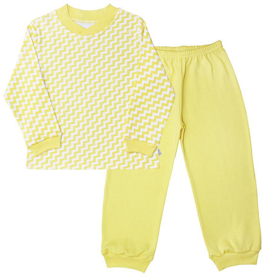 Пижама для мальчика Веселый малыш, цвет: желтый. 9215-K (1). Размер 1169215Пижама для мальчика Веселый малыш выполнена из качественного материала и состоит из лонгслива и брюк. Лонгслив с длинными рукавами и круглым вырезом горловины. Брюки понизу дополнены манжета