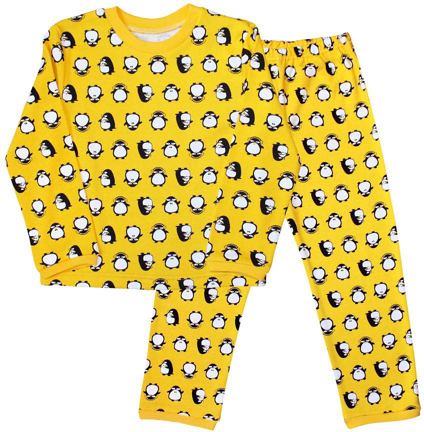 Пижама для мальчика Веселый малыш, цвет: желтый. 9315-L (1) желтый. Размер 1229315Пижама для мальчика Веселый малыш выполнена из качественного материала и состоит из лонгслива и брюк. Лонгслив с длинными рукавами и круглым вырезом горловины. Брюки понизу дополнены манжетами.