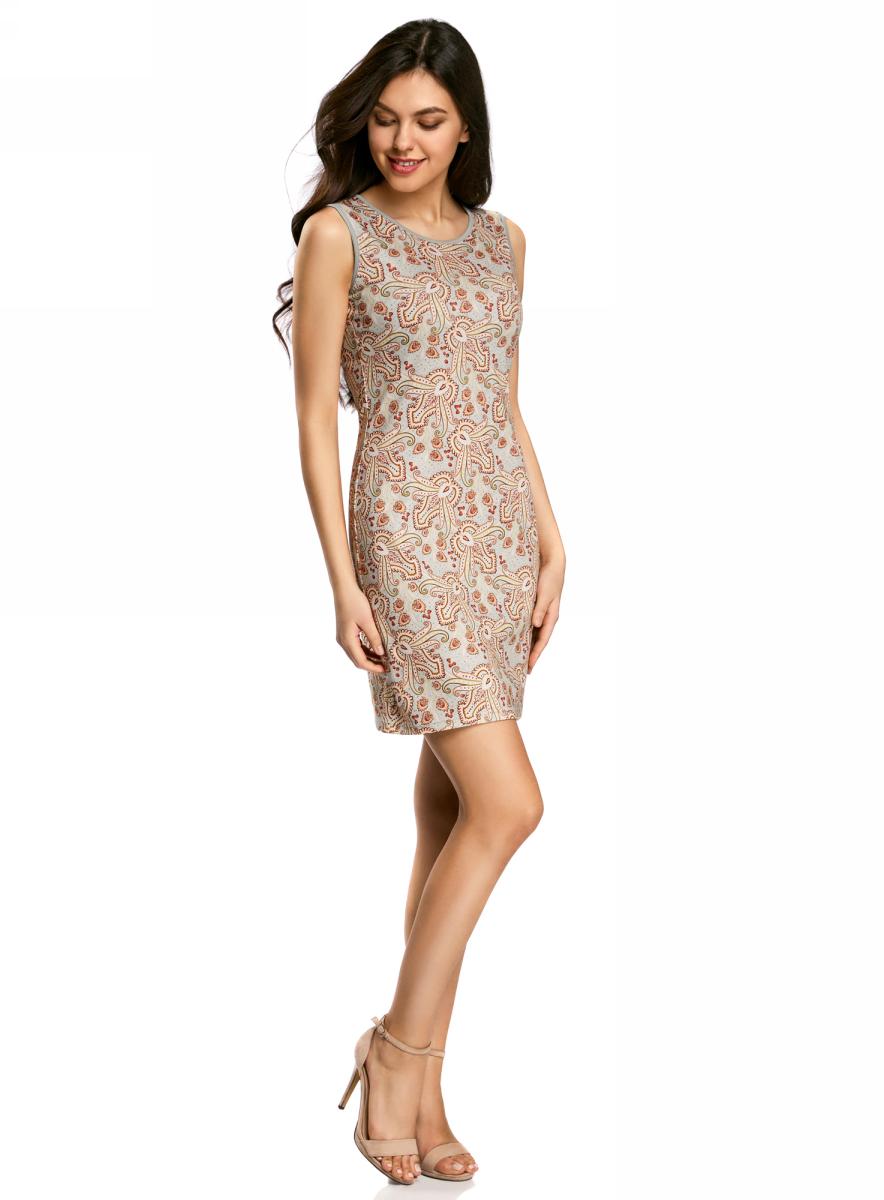 Платье oodji Collection, цвет: серый, терракотовый. 24005126-2/18610/2331E. Размер M (46)24005126-2/18610/2331EПлатье от oodji облегающего силуэта выполнено из высококачественного трикотажа. Модель без рукавов на спинке застегивается на потайную застежку-молнию.