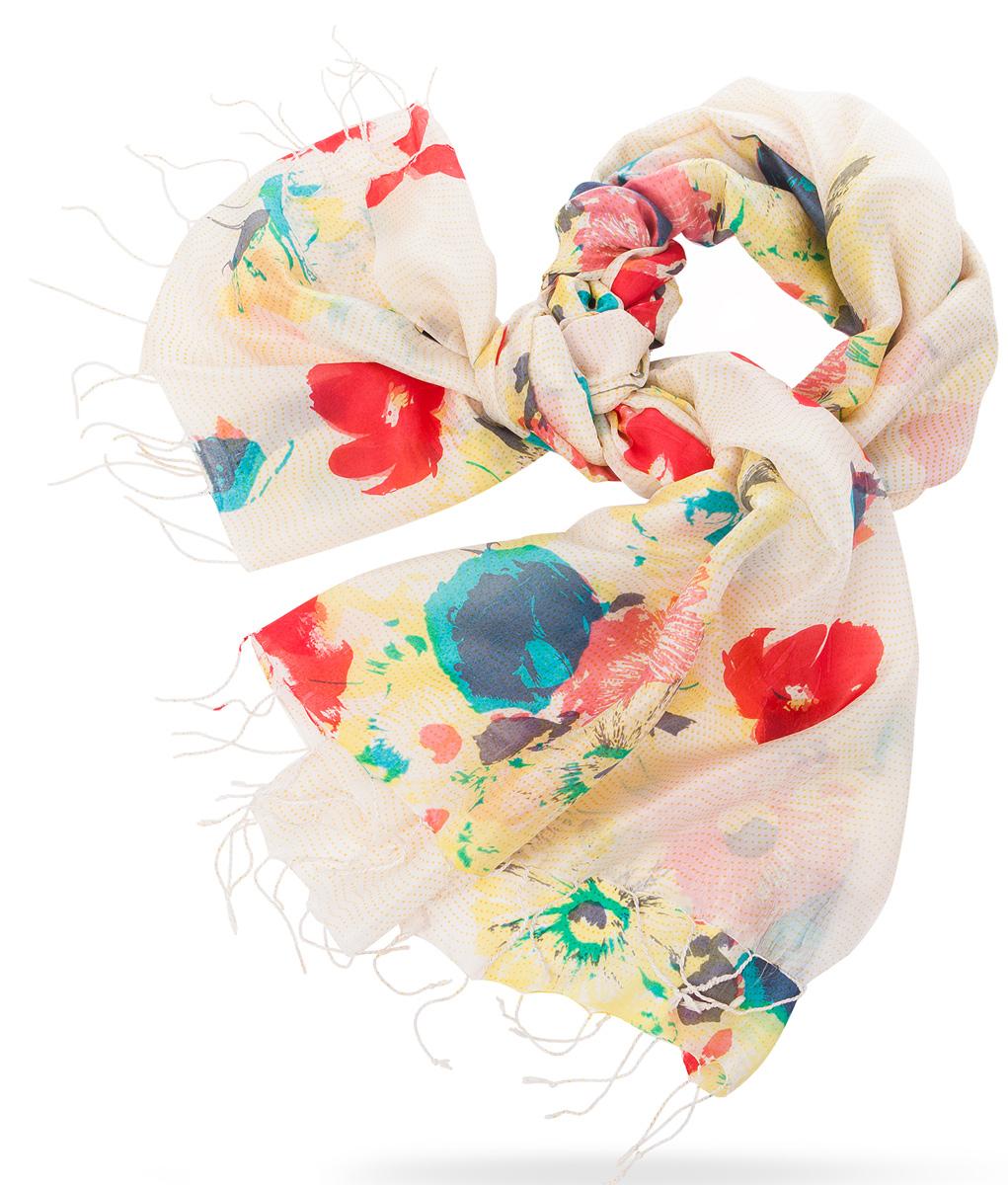 ПалантинS30-BRUSH.FLOWER/WHITEНарочито рыхлое плетение Plain тончайшей шелковой нитью Mulberry, нежная полупрозрачная ткань Chiffon. Вес изделия 60г (30 г/м2).