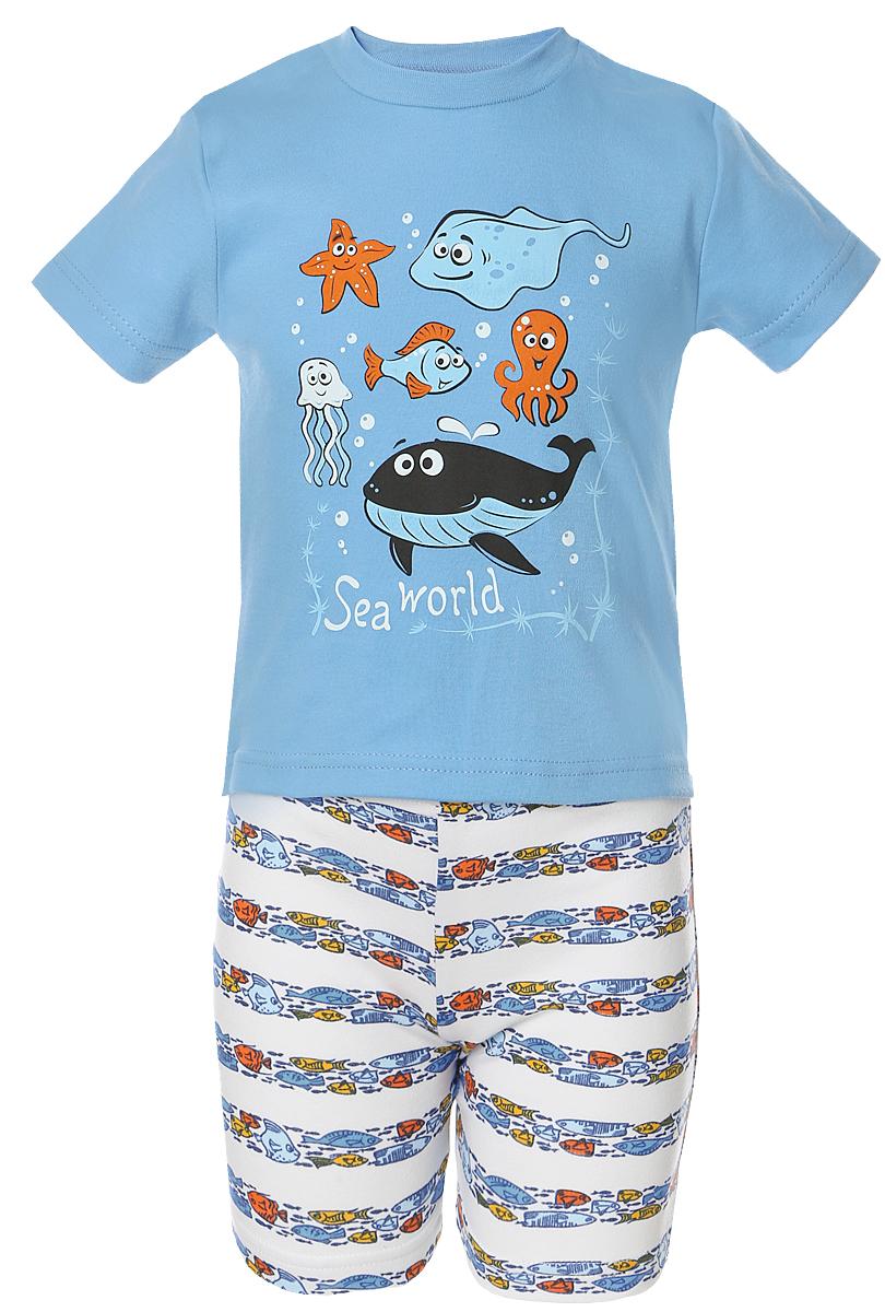 Пижама для мальчика Веселый малыш Подводный мир, цвет: синий. 237130-I (1). Размер 104237130Пижама для мальчика Веселый малыш выполнена из качественного материала и состоит из футболки и шорт. Футболка с короткими рукавами и круглым вырезом горловины. Шорты дополнены эластичной резинкой.