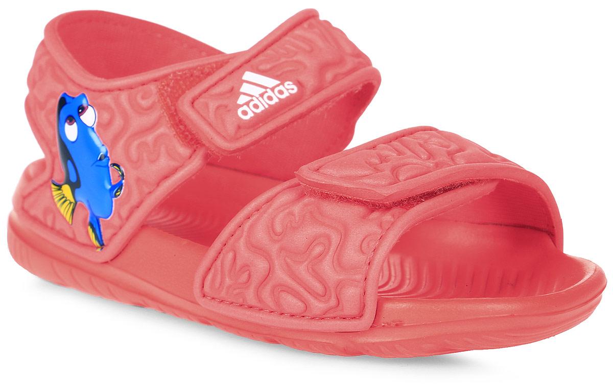 Сандалии для девочки adidas Disney Nemo AltaSwi, цвет: оранжевый. BA9327. Размер 21BA9327В этих очаровательных пляжных сандаликах с осьминогом Хэнком из мультфильма В поисках Дори малышам будет удобно играть у бассейна или на берегу моря. Текстильная подкладка обеспечивает комфорт маленьким ножкам, а мягкие ремешки на липучке облегчают надевание и снимание.