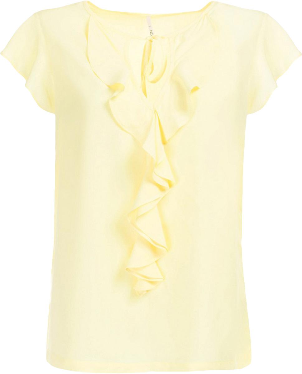 Блузка женская Baon, цвет: желтый. B197013_Canary. Размер L (48)B197013_CanaryБлузка женская Baon выполнена из вискозы. Модель с круглым вырезом горловины и короткими рукавами дополнена оборками.