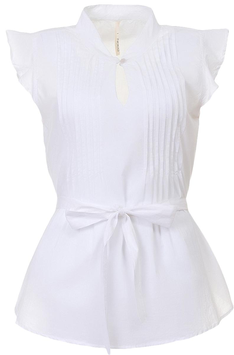 Блузка женская Baon, цвет: белый. B197062_White. Размер S (44)B197062_WhiteБлузка женская Baon выполнена из натурального хлопка. Модель украшена завязывающимся поясом. Воротник застёгивается на пуговицу. Вдоль выреза горловины расположены продольные складки-защипы.