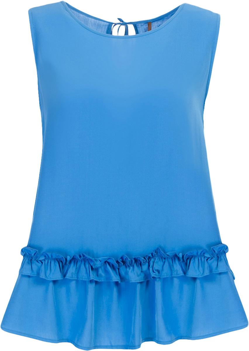 Топ женский Baon, цвет: синий. B267030_Larkspur. Размер M (46)B267030_LarkspurТоп женский Baon выполнен из вискозы. Модель с круглым вырезом горловины понизу дополнен оборками.