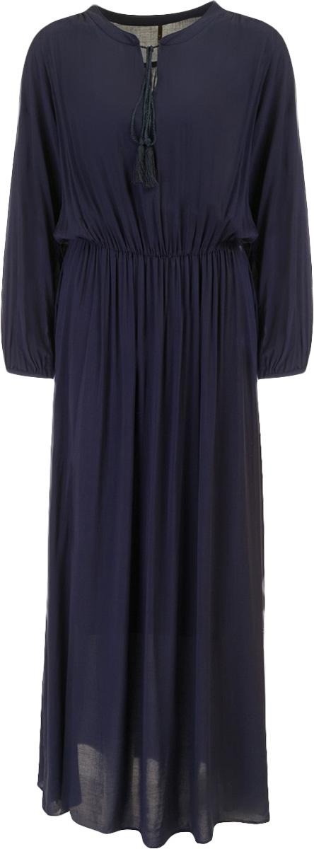 Платье Baon, цвет: темнно-синий. B457048_Dark Navy. Размер XL (50)B457048_Dark NavyПлатье Baon выполнено из вискозы. Модель с круглым вырезом горловины и длинными рукавами.