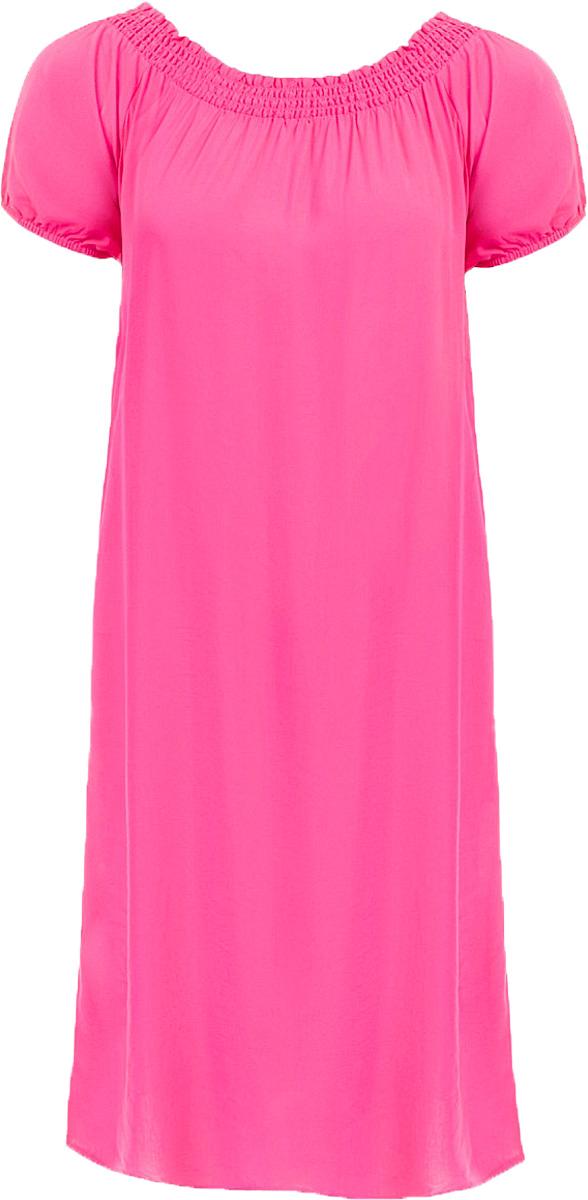 Платье Baon, цвет: розовый. B457054_Pale Magenta. Размер S (44)B457054_Pale MagentaПлатье Baon выполнено из вискозы. Модель с воротником-лодочкой и короткими рукавами.