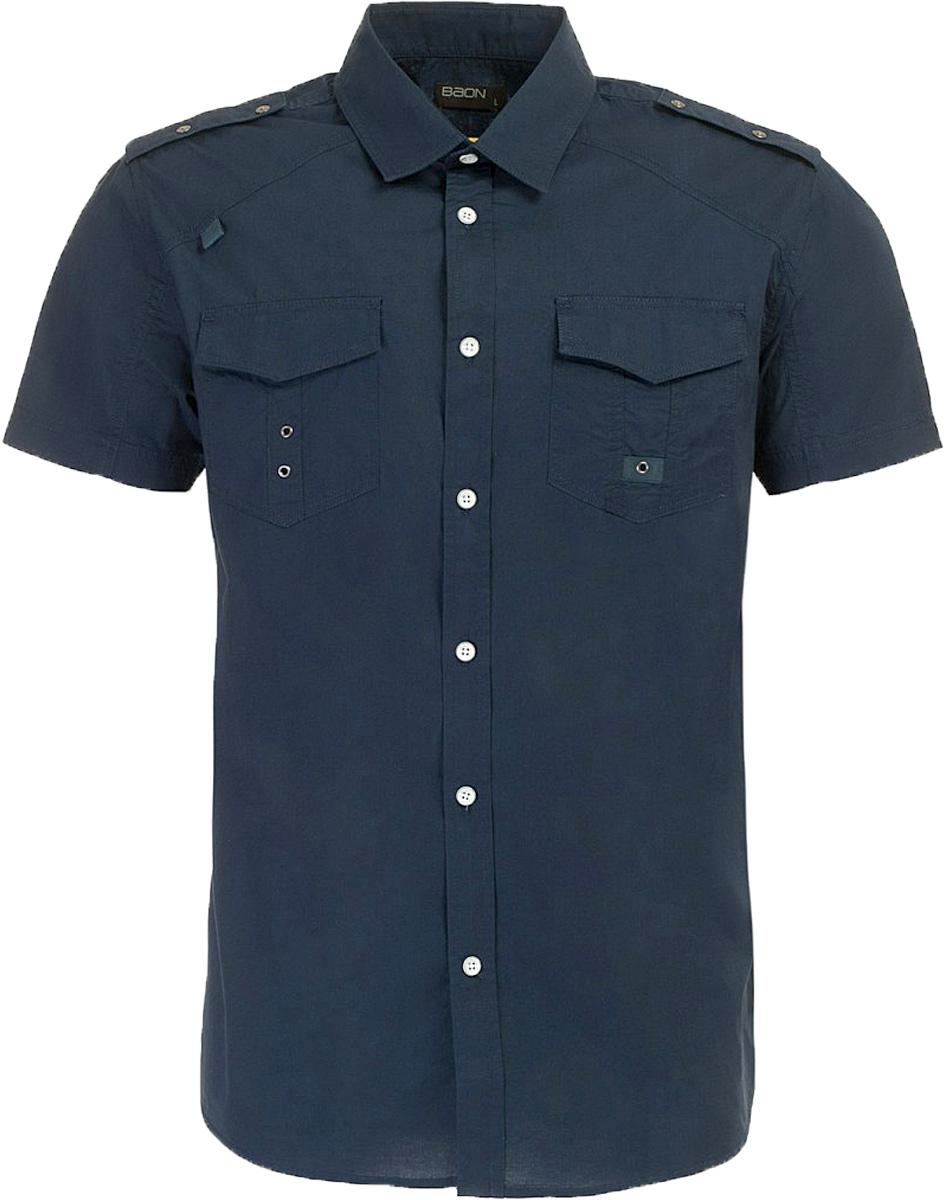 РубашкаB687006_Deep NavyРубашка мужская Baon выполнена из натурального материала. Модель с отложным воротником и короткими рукавами застегивается на пуговицы.