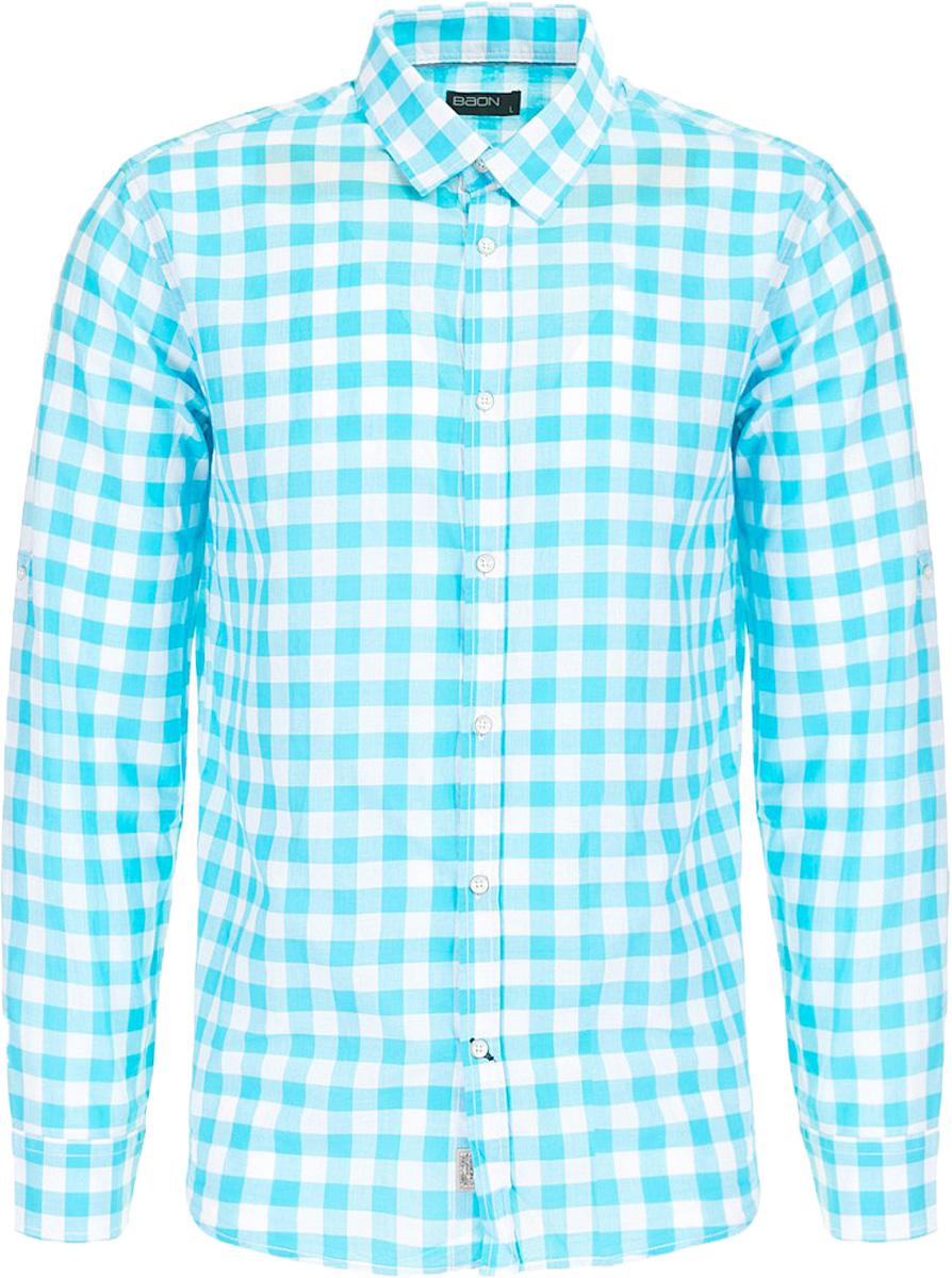 РубашкаB667011_Caribbean Sea CheckedРубашка мужская Baon выполнена из натурального материала. Модель с отложным воротником и длинными рукавами застегивается на пуговицы.