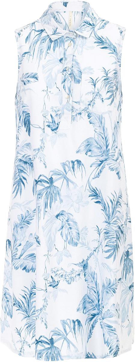 Платье Baon, цвет: голубой. B457097_Myosotis Printed. Размер M (46)B457097_Myosotis PrintedПлатье Baon выполнено из вискозы. Модель с отложным воротником застегивается на пуговицы.